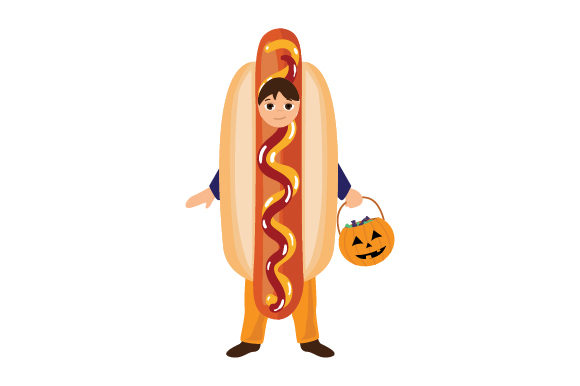 Kid Dressed As Hotdog (holding Jack-o'-lantern Basket) Halloween Craft Cut File By Creative Fabrica Crafts