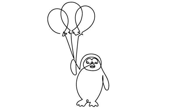 Download Free Penguin Holding Balloons In Line Art Style Svg Cut File By for Cricut Explore, Silhouette and other cutting machines.