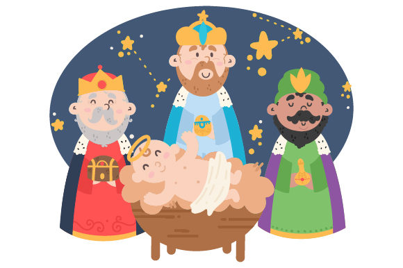 Reyes Magos With Nino Jesus Svg Cut File By Creative Fabrica