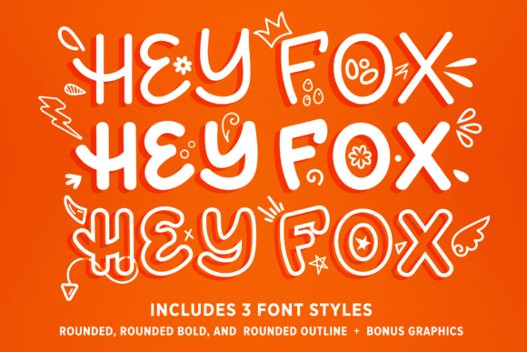 Print on Demand: Hey Fox Rounded Font Trio Script & Handwritten Font By Running With Foxes