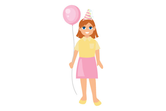 Girl Wearing Party Hat Birthday Craft Cut File By Creative Fabrica Crafts