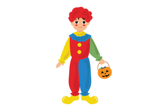 Kid Dressed As Clown (holding Jack-o'-lantern Basket) Halloween Craft Cut File By Creative Fabrica Crafts - Image 1