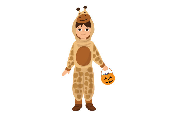 Kid Dressed As Giraffe (holding Jack-o'-lantern Basket) Halloween Craft Cut File By Creative Fabrica Crafts
