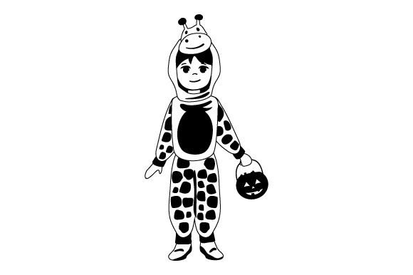 Kid Dressed As Giraffe (holding Jack-o'-lantern Basket) Halloween Craft Cut File By Creative Fabrica Crafts - Image 2