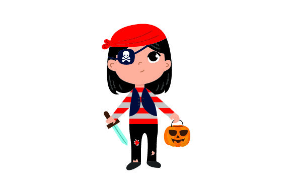 Kid Dressed As Pirate Holding Jack-o'-lantern Basket Halloween Craft Cut File By Creative Fabrica Crafts