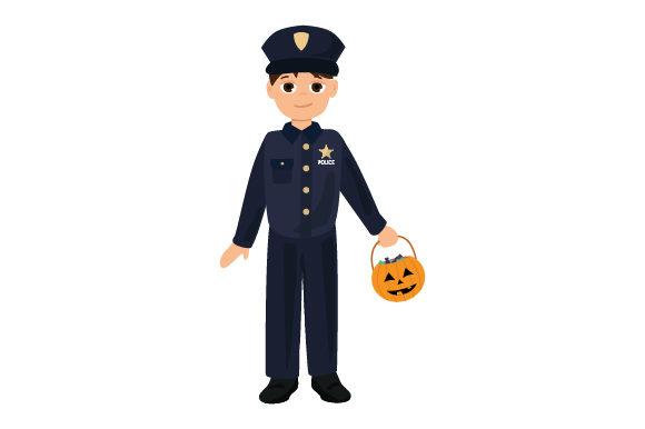 Kid Dressed As Policeman (holding Jack-o'-lantern Basket) Halloween Craft Cut File By Creative Fabrica Crafts