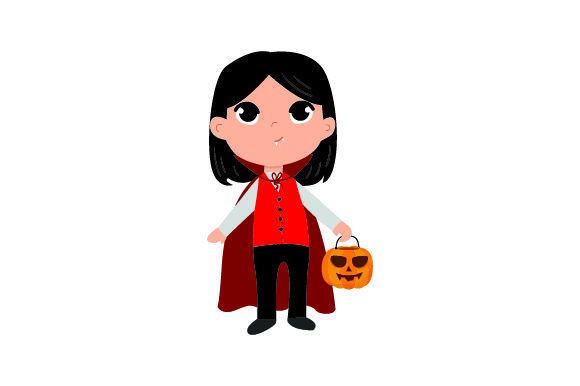 Kid Dressed As Vampire Holding Jack-o'-lantern Basket Halloween Craft Cut File By Creative Fabrica Crafts