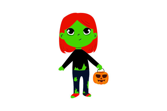 Kid Dressed As Zombie Holding Jack-o'-lantern Basket Halloween Craft Cut File By Creative Fabrica Crafts - Image 1