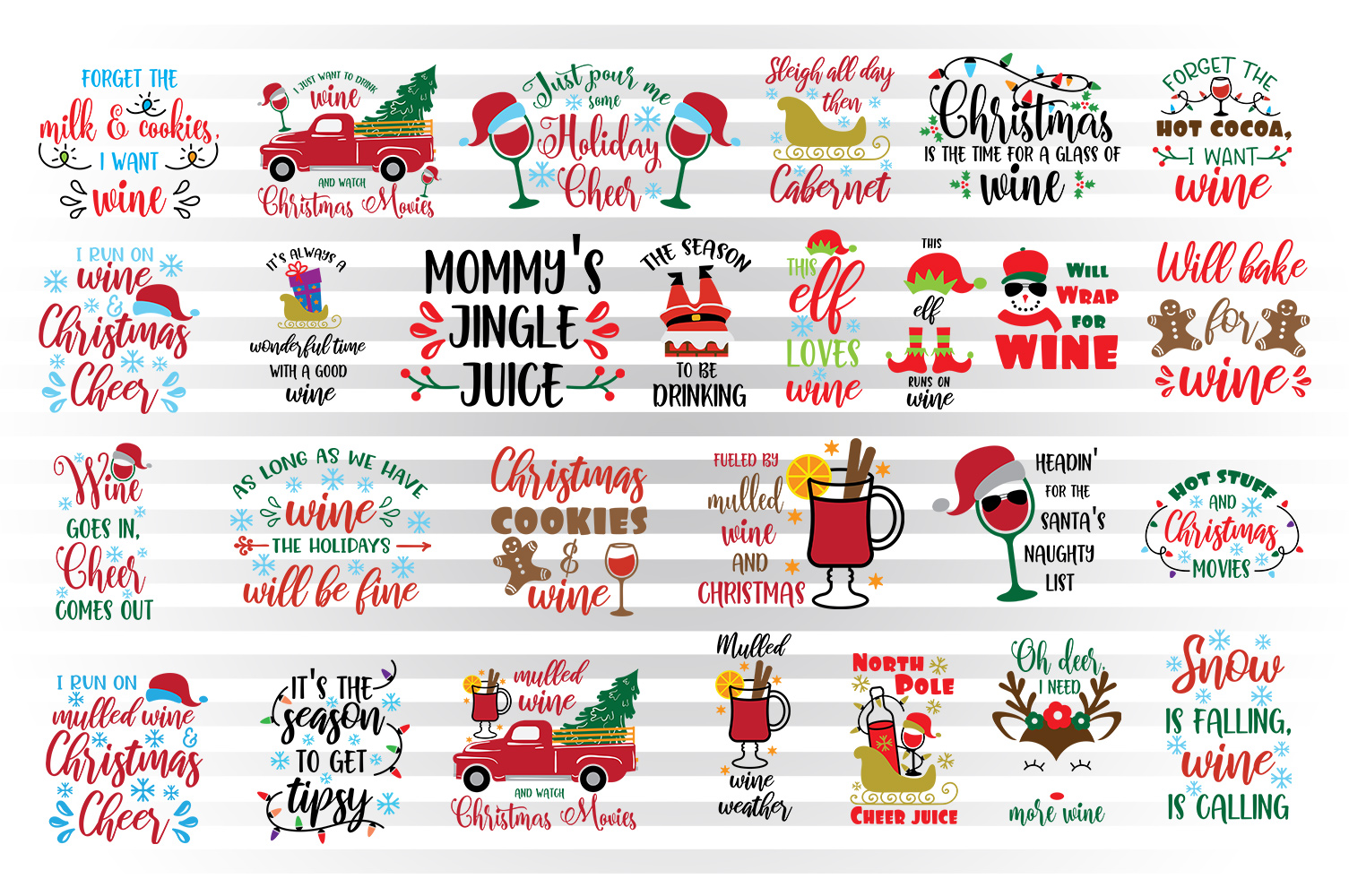 Download Free Christmas Wine Bundle Graphic By Illustrator Guru Creative Fabrica for Cricut Explore, Silhouette and other cutting machines.
