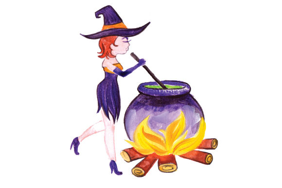 Witch Stirring Potion in Gouache Style Halloween Craft Cut File By Creative Fabrica Crafts