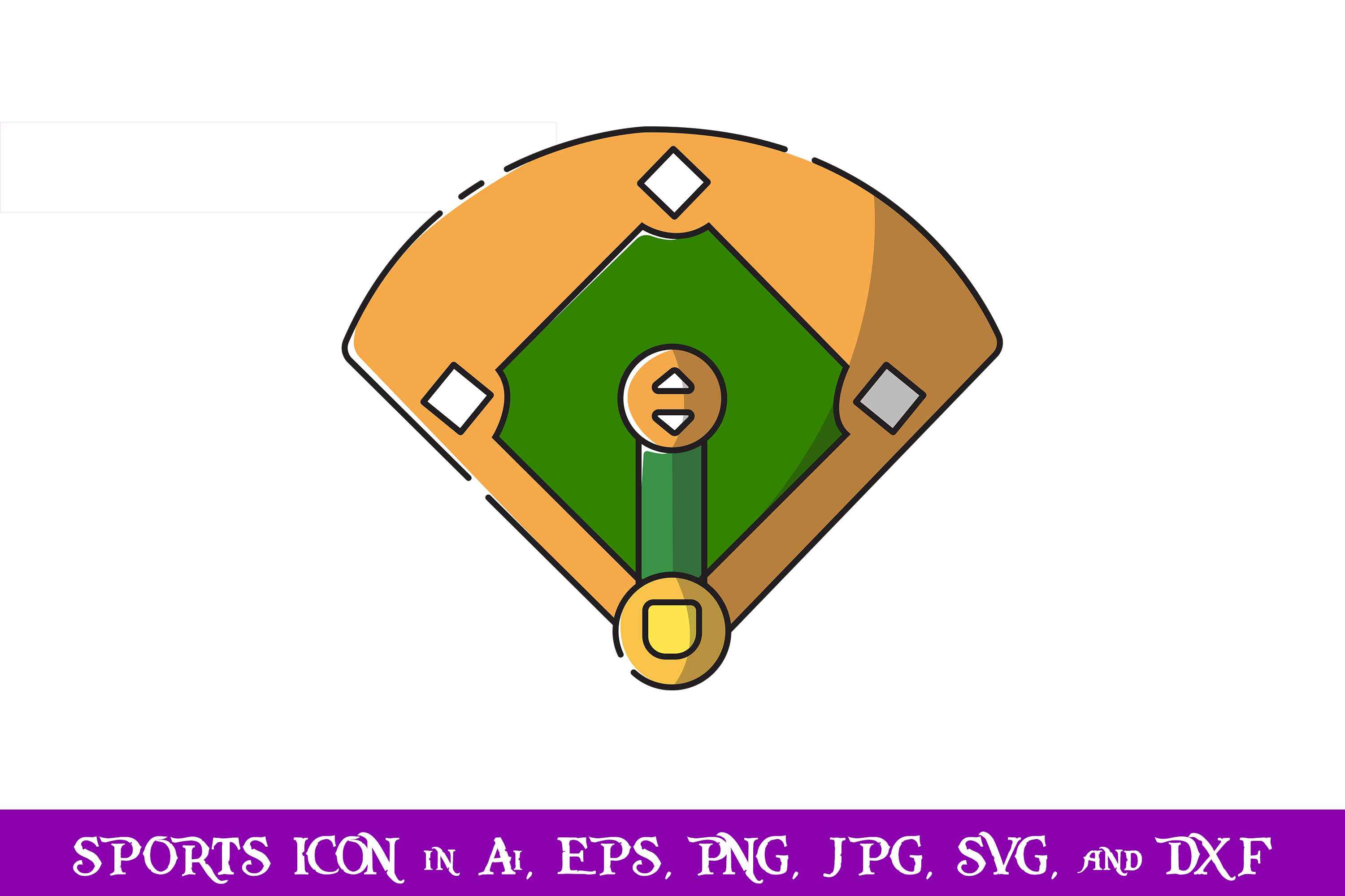 Download Free Base Field Baseball Sport Icon Graphic By Purplespoonpirates for Cricut Explore, Silhouette and other cutting machines.