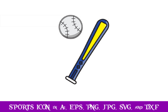 Download Free Baseball Bat Sport Icon Graphic By Purplespoonpirates Creative for Cricut Explore, Silhouette and other cutting machines.