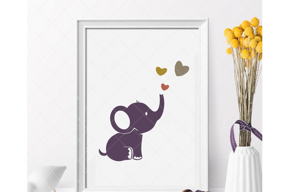 Download Free Baby Elephant Graphic By Thelovebyrds Creative Fabrica for Cricut Explore, Silhouette and other cutting machines.