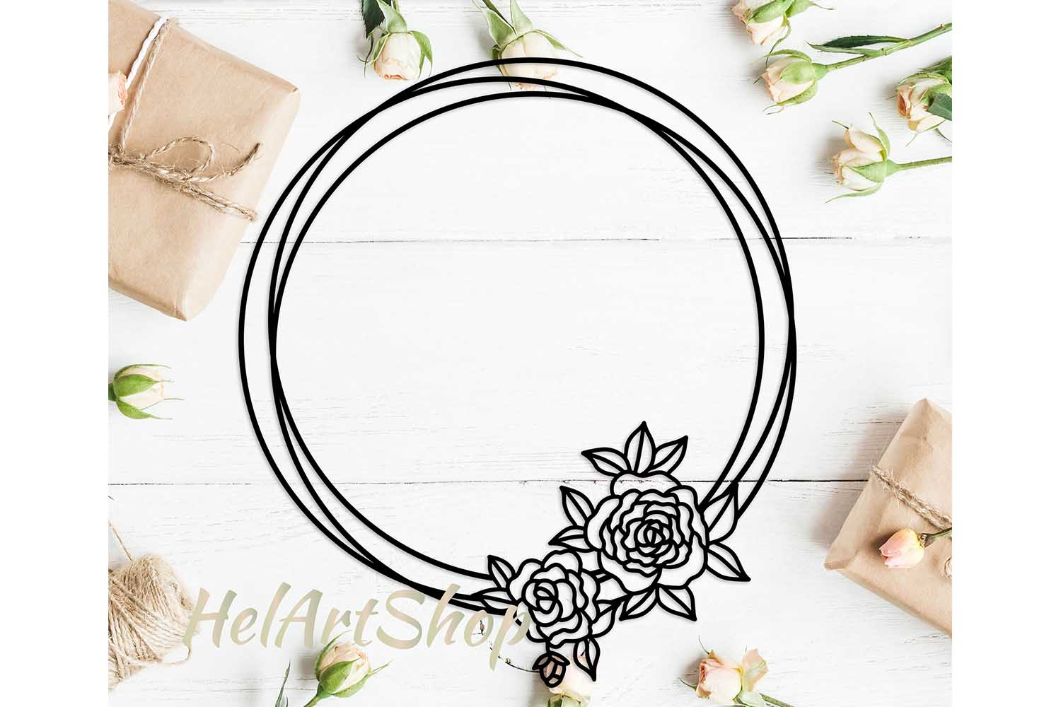 Download Free Flower Frame Graphic By Helartshop Creative Fabrica for Cricut Explore, Silhouette and other cutting machines.