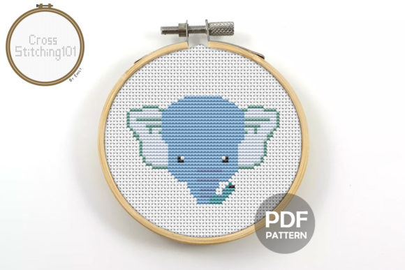 Download Free Cartoon Elephant Modern Cross Stitch Graphic By for Cricut Explore, Silhouette and other cutting machines.