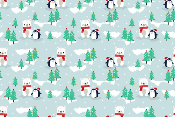 Christmas Graphic.Cute Polar Bear And Penguin In Christmas