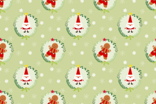 Download Free Cute Santa And Gingerbread Man Seamless Graphic By Thanaporn Pinp Creative Fabrica for Cricut Explore, Silhouette and other cutting machines.