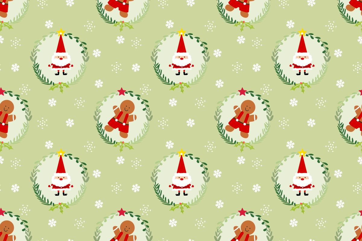 Download Free Cute Santa And Gingerbread Man Seamless Graphic By Thanaporn for Cricut Explore, Silhouette and other cutting machines.