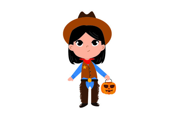 Kid Dressed As Cowboy - Holding Jack-o'-lantern Basket Halloween Craft Cut File By Creative Fabrica Crafts