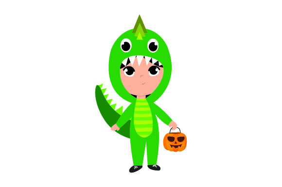 Kid Dressed As Dinosaur Holding Jack-o'-lantern Basket Halloween Craft Cut File By Creative Fabrica Crafts