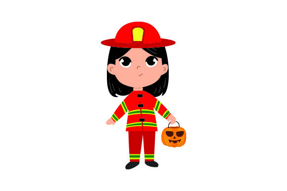 Kid Dressed As Firefighter Holding Jack-o'-lantern Basket Halloween Craft Cut File By Creative Fabrica Crafts