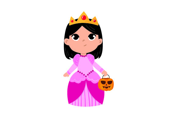Kid Dressed As Princess Holding Jack-o'-lantern Basket Halloween Craft Cut File By Creative Fabrica Crafts - Image 1