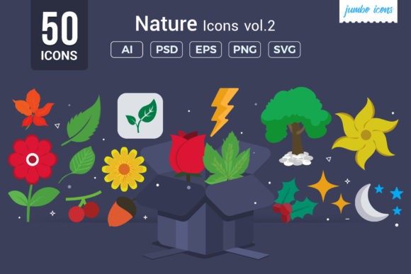 Print on Demand: Flat Vector Icons Nature Pack Graphic Icons By jumboicons