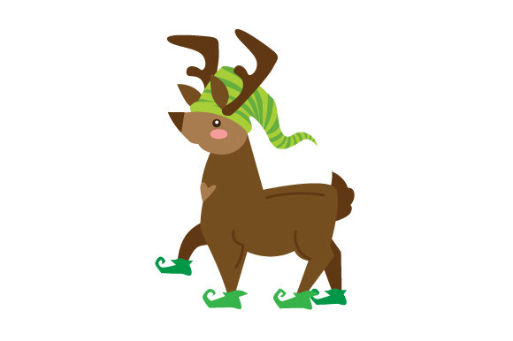 Download Free Reindeer Wearing Elf Shoes And Elf Hat Svg Cut File By Creative for Cricut Explore, Silhouette and other cutting machines.