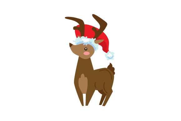 Download Free Reindeer Wearing Santa Hat Svg Cut File By Creative Fabrica for Cricut Explore, Silhouette and other cutting machines.