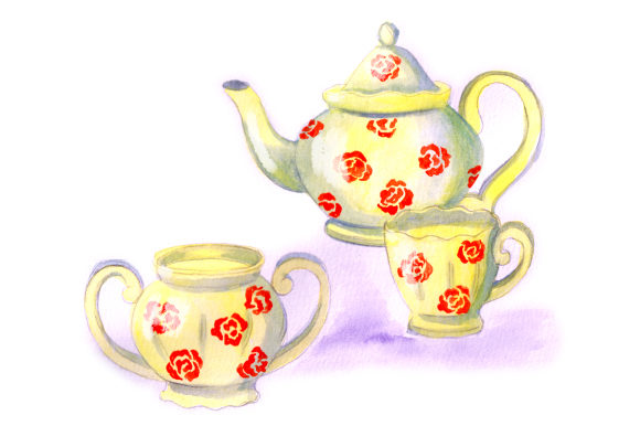 Vintage Tea Set in Gouache Style Tea Craft Cut File By Creative Fabrica Crafts