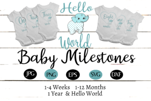 Baby Elephant 1 Year Milestones Set Graphic By capeairforce