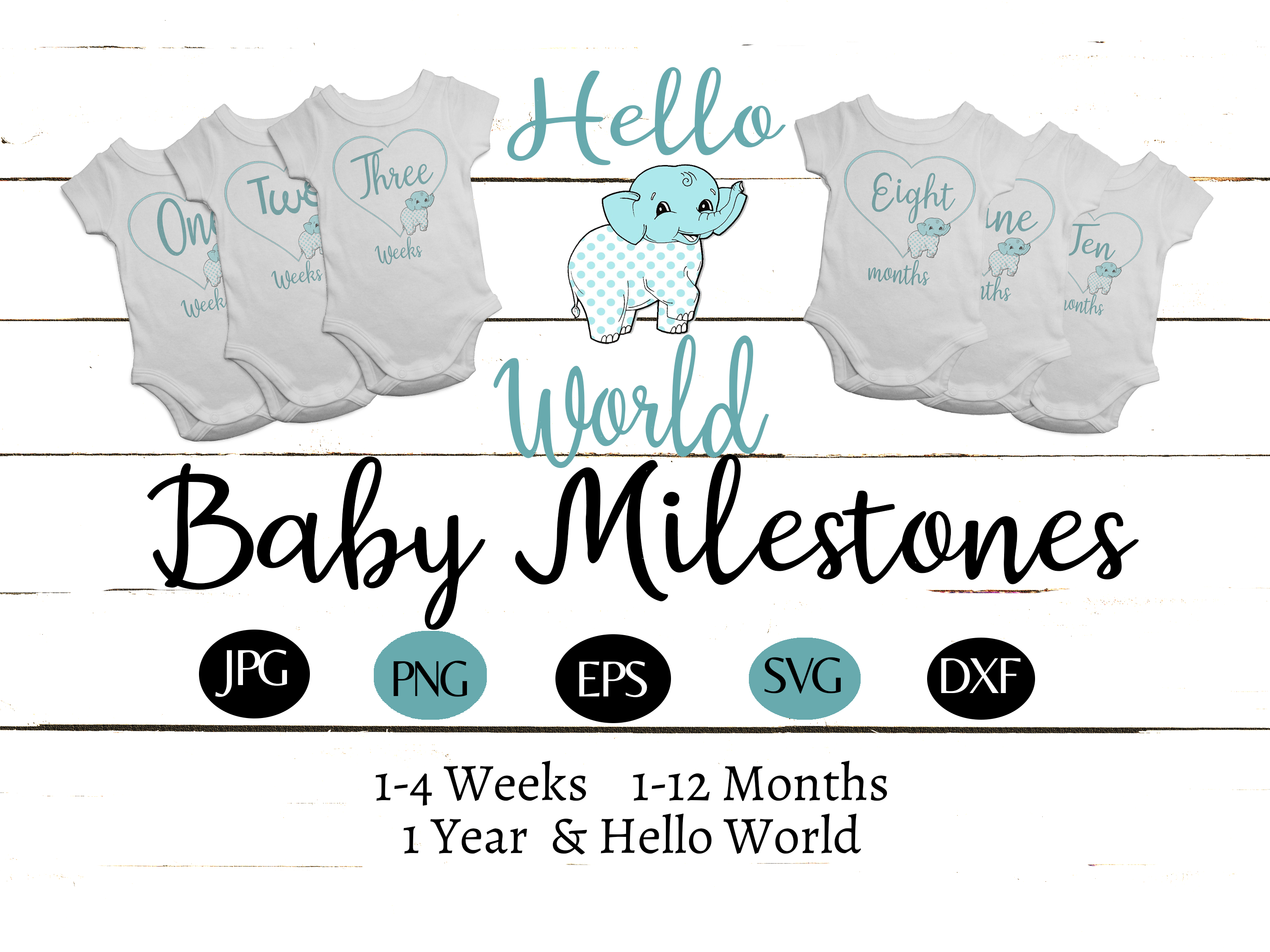 Download Free Baby Elephant 1 Year Milestones Set Graphic By Capeairforce for Cricut Explore, Silhouette and other cutting machines.