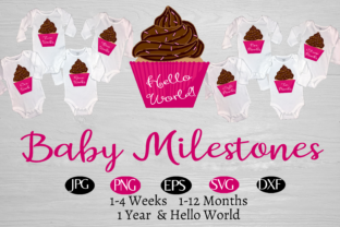 Babys' 1 Year Cupcake Milestones Graphic By capeairforce