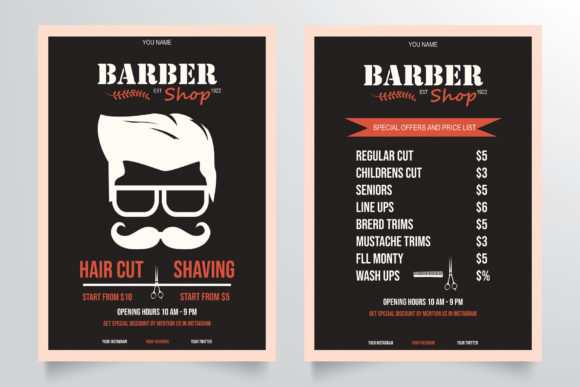 Download Free Classic Barber Shop Flyer Template Grafico Por Stringlabs for Cricut Explore, Silhouette and other cutting machines.