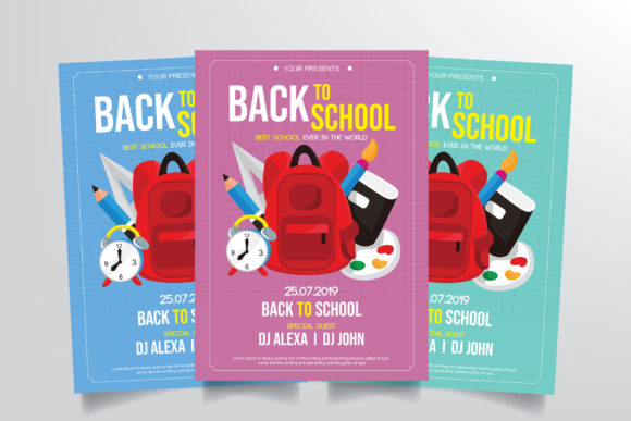 Back to School Flyer Template Graphic Print Templates By StringLabs