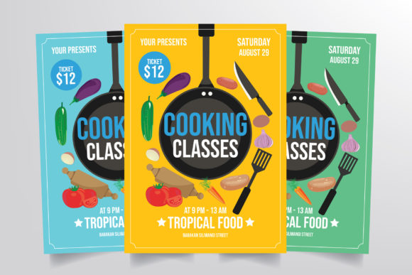 Cooking Class Flyer Template Gráfico Plantillas para Impresión Por StringLabs