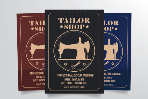 Download Free Tailor Shop Flyer Template Graphic By Stringlabs Creative Fabrica for Cricut Explore, Silhouette and other cutting machines.