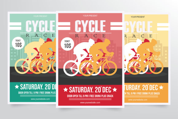 Download Free Road Bicycle Racing Flyer Template Graphic By Stringlabs for Cricut Explore, Silhouette and other cutting machines.