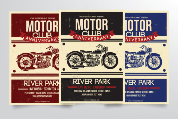 Motorcycle Club Flyer Template Graphic Print Templates By StringLabs