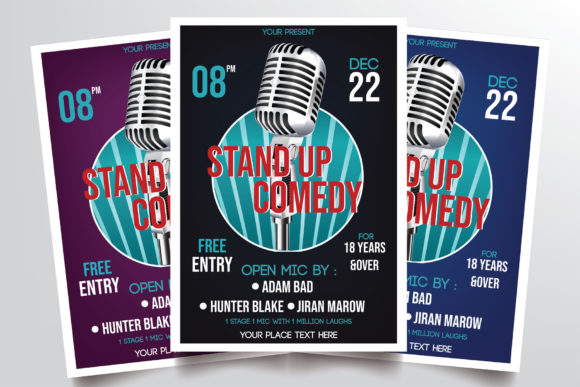 Stand Up Comedy Flyer Template Graphic Print Templates By StringLabs