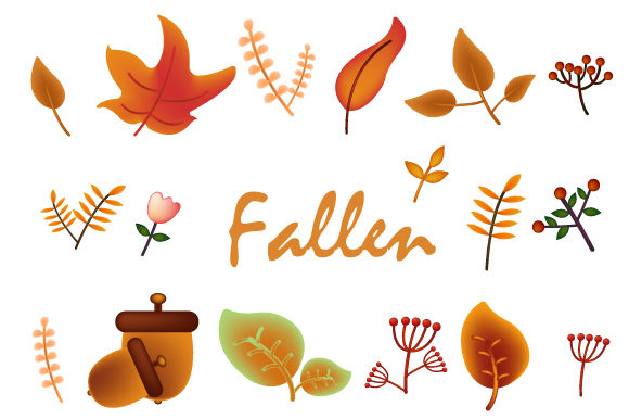 Print on Demand: Autumn Leaves, Maple, Fruit Cute Design Graphic Illustrations By iop_micro