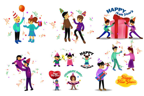 Print on Demand: New Year Bash Celebrating Party Vector Graphic Illustrations By iop_micro