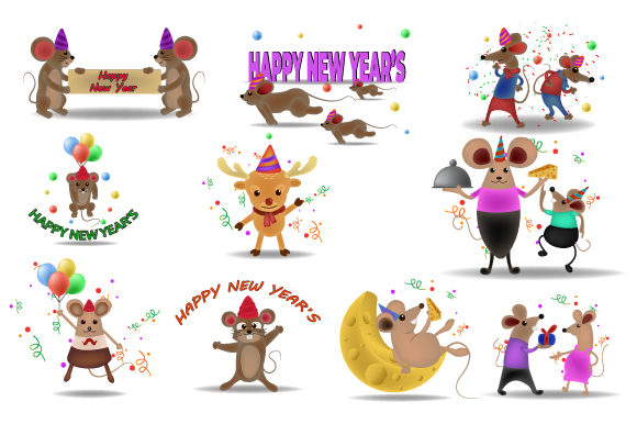 Print on Demand: Mouse New Year Symbol Celebrating Vector Graphic Illustrations By iop_micro