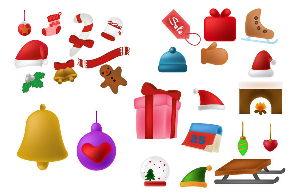 Print on Demand: Merry Christmas Cute Icon Element Design Graphic Illustrations By iop_micro