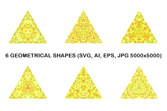 6 Mosaic Triangles Graphic Objects By davidzydd