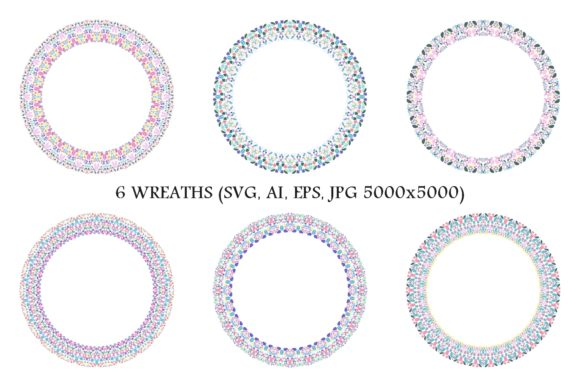 Download Free 6 Floral Wreaths Graphic By Davidzydd Creative Fabrica for Cricut Explore, Silhouette and other cutting machines.