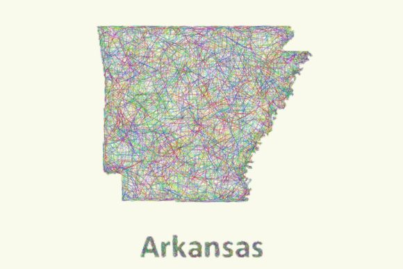 Arkansas Line Art Map Graphic