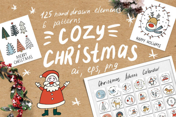 Cozy Christmas Clipart Graphic Illustrations By Ukulikki