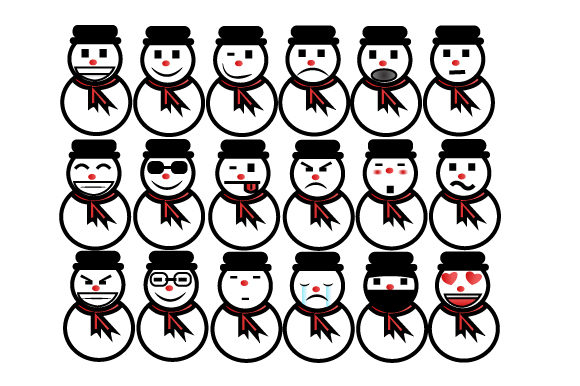 Print on Demand: Merry Christmas Cute Emoticon Element Graphic Illustrations By iop_micro