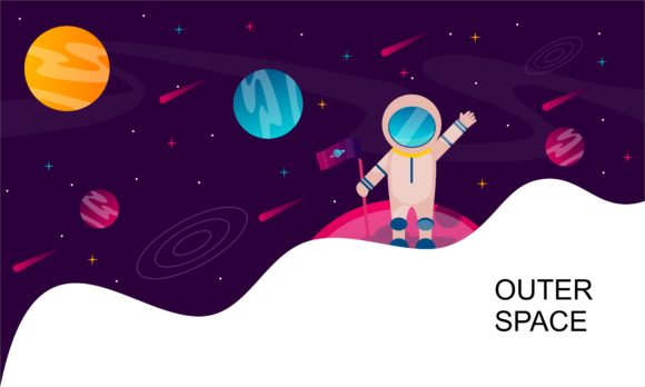 Outer Space, Abstract Shape and Planets Gráfico Logos Por DEEMKA STUDIO